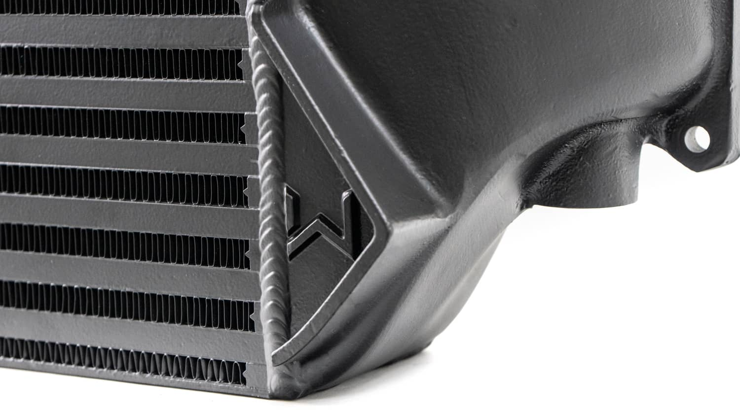 Larger 10.3mm intercooler core runners decrease pressure drop and increase cooling efficiency