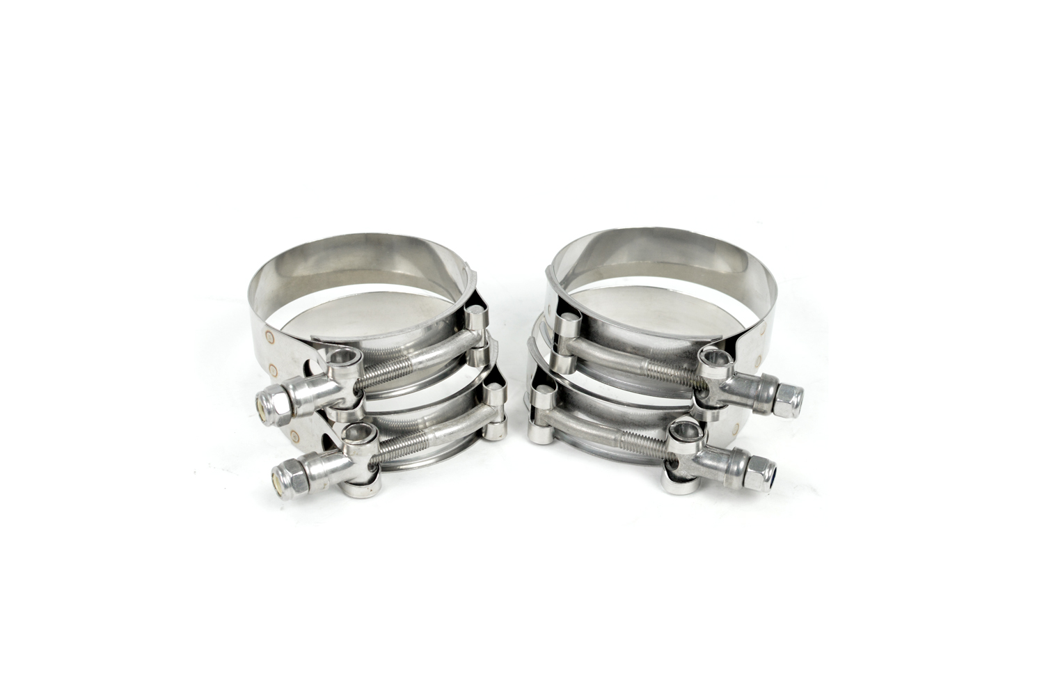 Stainless steel T-bolt clamps included with every kit