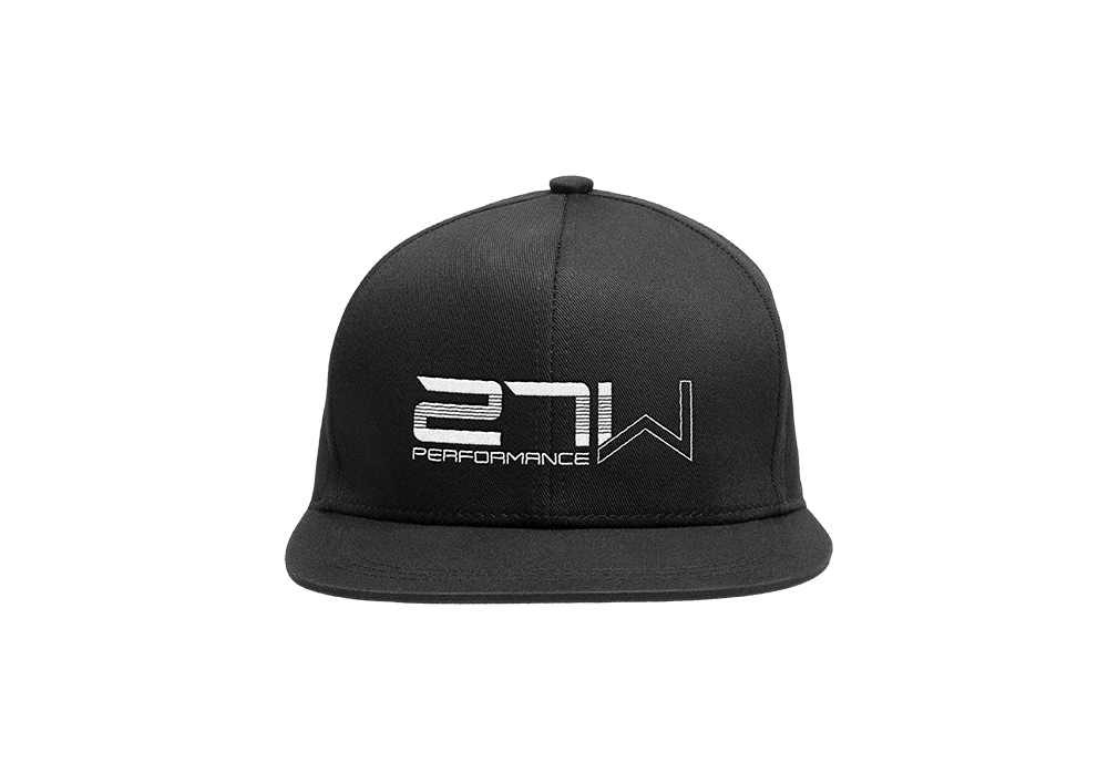 Clean 27W embroidery on the front