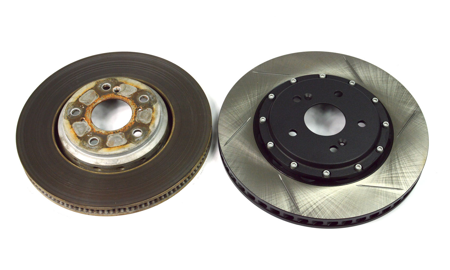 Increased diameter and thickness improve thermal capacity and braking performance vs the SI OEM brake rotors